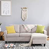Shintenchi Convertible Sectional Sofa Couch, Modern Linen Fabric L-Shaped Couch 3-Seat Sofa Sectional with Reversible Chaise for Small Living Room, Apartment and Small Space,(Beige)