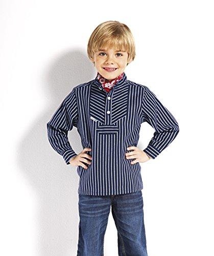 modAS Fischerhemd für Kinder breit gestreift klassischer Stil Größe 80