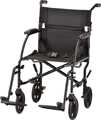 NOVA Medical Products Ultra Lightweight Transport Chair, Weighs Only 18.75 lb, Compact for Travel, Black