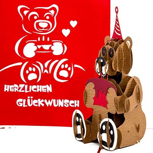 """3D Geburtstagskarte """"Teddybär mit Torte"""" - Teddy Bär Pop Up Karte als Geschenkidee – Glückwunschkarte, Geschenk, Geschenkverpackung & Gutschein zum Geburtstag"""