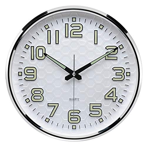 Plumeet Night Light Wall Clocks - 13 Inches Clock with Silent Non-Ticking Glowing Function - Great for Home Kitchen Bedroom - Large Number Battery Operated (Green Light)
