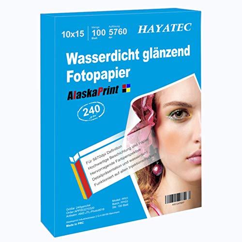 Alaskaprint 100x Blatt fotopapier 10x15 hoch glänzend Photopapier 240g/m² Fotokarten Sofort Trocken Wasserfest Hochweiß