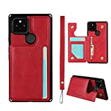 JWS-C Google Pixel 4a, Wallet Card Holder Case [4 Card Slots] [with Lanyard] PU Leather Flip Shockproof Cover for Google Pixel 4a - Red