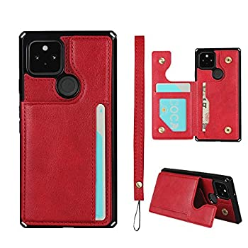 JWS-C Google Pixel 4a Wallet Card Holder Case [Card Slots] [with Lanyard] PU Leather Flip Shockproof Cover for Google Pixel 4a - Red