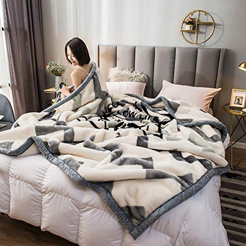 BSWL Autumn And Winter Thick Coral Fleece Blanket, Double Layer Single Blanket, Soft Skin-Friendly, Nap Blanket, Air-Conditioning Blanket, Sofa Blanket,7