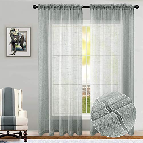 Joywell Grey Curtains 72 Inches Long for Living Room Set of 2 Panels Rod Pocket Linen Cotton Look Striped Pattern Country Window Drapes Light Filtering Sheer Curtains for Bedroom Sliding Door 54x72