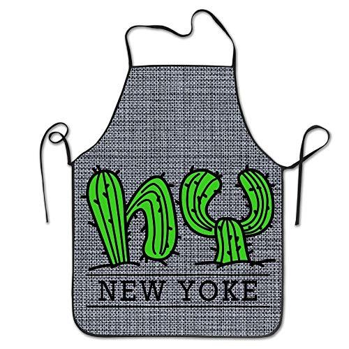 Lsjuee New York Catus Delantal de Cocina Delantal de Cocina Delantales de Babero Delantal de Jefe Hogar Fácil Cuidado para Hombres Mujeres