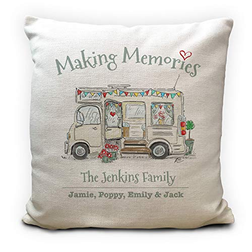 Personalised Motorhome Mobile Home Camping Cushion Pillow Cover - Wedding Gift - Making Memories - Family Holiday - 40cm 16 inches