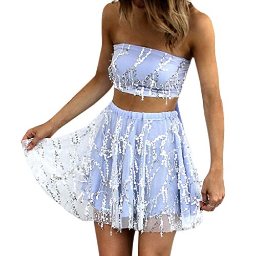 Women Bling Sequins Strapless Lace-Up Tube Tank Tops High Waist Co-Ord S