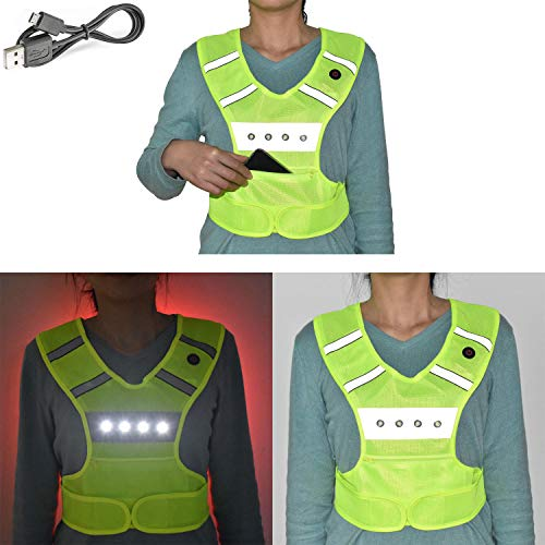 LED Vest Reflective Running Gear USB Rechargeable Light Up Flashing Warning Vest Adjustable Waist 1 Pocket, Kids Adults Safety lights for Runners Running Dog Walking Motorcycle Cycling (Small/Medium)