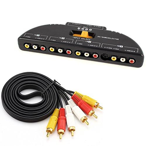 Leagy 4-way audio video AV RCA interruttore gioco selettore box splitter nero