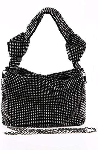 ZSW Shiny RhineZSW Bolso de Mano para Mujer Bolso de Hombro Bolso de Mano con asa de Moda Bolso de Mano para Mujer-Negro
