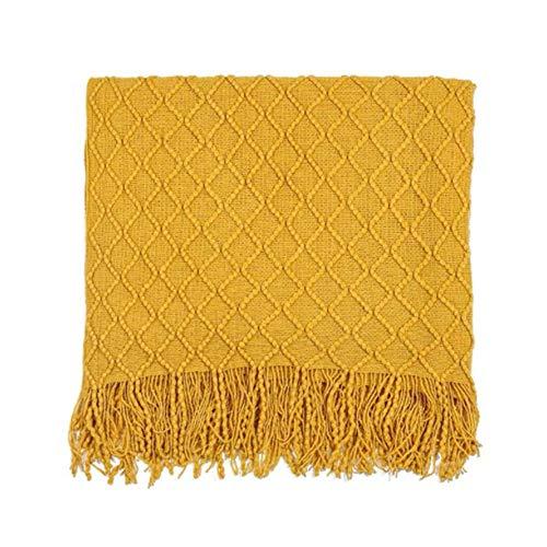 Manta de punto para sofá, ligera, suave, agradable a la piel, duradera, con forma de diamante y borla tejida, amarillo, para dormitorio, sala de estar