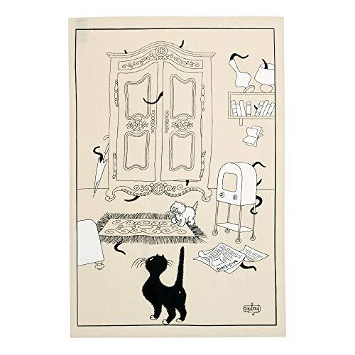 Winkler - Torchon Dubout Cache-cache – 48×72 cm - 100% coton absorbant - Made in France - Serviette à vaisselle, chiffon de nettoyage - Dessin humoristique