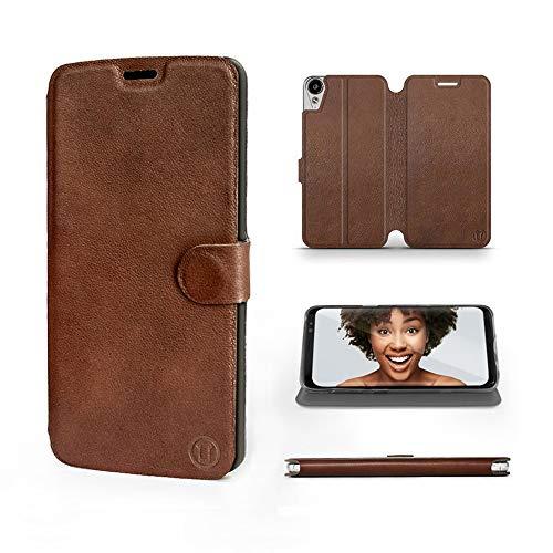 Mobiwear | Echt Lederhülle | Kompatibel mit HTC Desire 10 Lifestyle, Made in EU handyhülle, Slim Leather Hülle, Premium Flip Schutzhülle, Transparent TPU Silicon, Book Style, Tasche - Braunes Leder