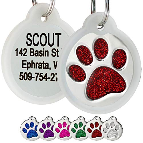 GoTags Paw Print Round Stainless Steel Pet Tag for Dogs and Cats, Personalized with 4 Lines of Custom Engraved ID, in Solid Stainless Steel and 5 Enameled Colors: Blue, Green, Pink, Purple and Red