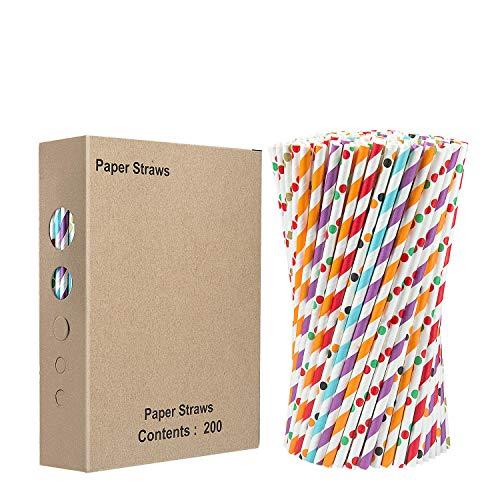 ZWOOS 200 Pcs Papierstrohhalme, Biologisch Abbaubare Papier Trinkhalme, Strohhalm Papier für Weihnachten Parteien Geburtstag(8 Farben)