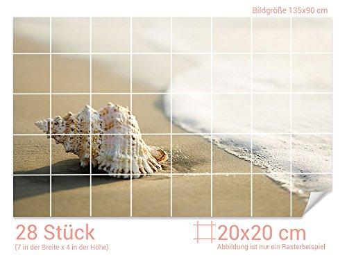 GRAZDesign Fliesenaufkleber Muschel/Strand für Kacheln Bad-Fliesen mit Fliesenbildern überkleben (Fliesenmaß: 20x20cm (BxH)//Bild: 135x90cm (BxH))