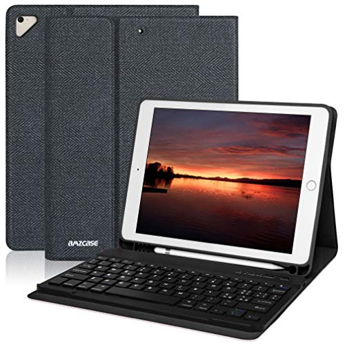 Tastatur Hülle 9.7 für iPad 6. Gen 2018 iPad 5. Gen2017 iPad Pro 9.7 iPad Air 2 Air 1 mit drahtloser abnehmbarer Bluetooth-Tastatur 9.7 iPad-Abdeckung mit integriertem Stifthalter (schwarz)