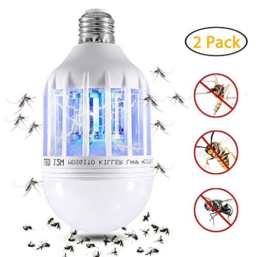 Wanqueen 2 Pack Electronic Mosquitop Fly Killer Lamp, Fits 110V E27 Light Socket Suit for Indoor Outdoor bulb-02, A1, 02-Bug Zapper Bulb