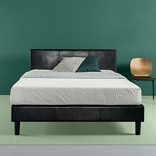 Zinus Jade Faux Leather Upholstered Platform Bed / Mattress Foundation / Easy Assembly / Strong Wood Slat Support / Black, Queen