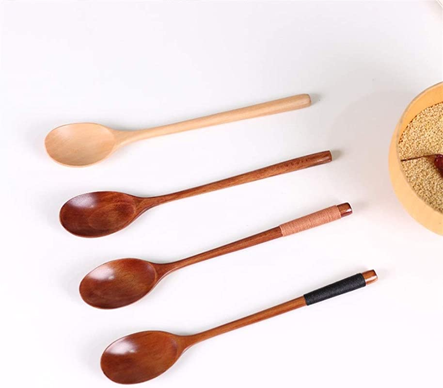 KTASLL Wooden Spoon 23 54cm Long Handle Iron Straight Handle Wooden Spoon Color One