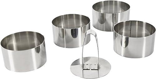 Equinox 508937, Lot de 4 emporte pièces ronds diam. 8 cm hauteur 4,5 cm en acier inoxydable + poussoir inox