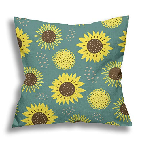 Sunflower Cushion covers 18x18 Inches Cotton Linen sun flowers Throw Pillow Covers Double Sided Printed Design Home Decorative Pillowcase Gifts for Women/Men Living Room Bedroom Sofa Chair