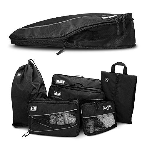 Premium Kompressions-Kleidertaschen I Ultraleichtes 6-teiliges Koffer-Organizer-Set I Platzsparende Packtaschen mit Kompression-Effekt I Reise-Pack-Würfel-Set