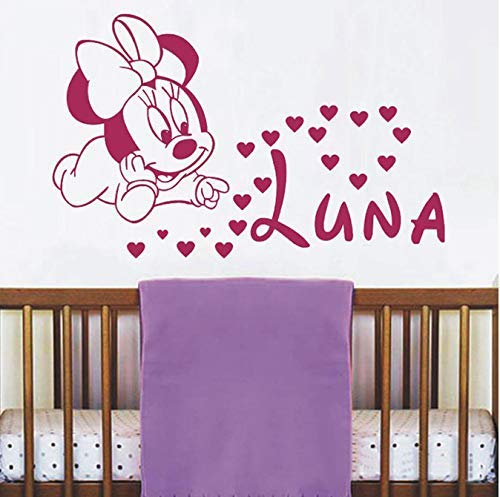 Sale Cute Minnie Mouse with Custom Baby Name Vinyl Wall Sticker Sweet Decor for Baby Kids Room Nursery Decoration 57 35Cm