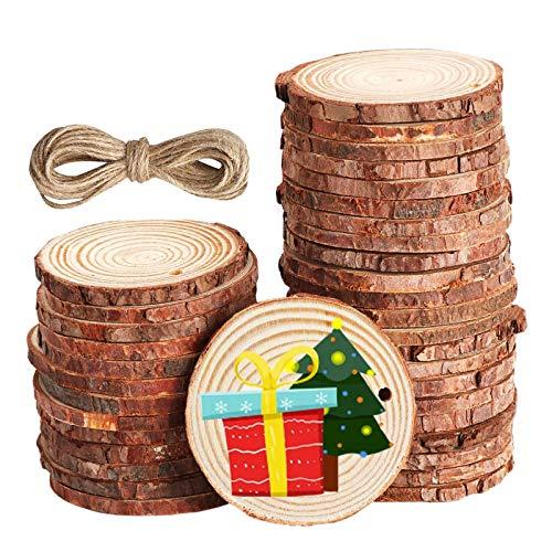 Yisscen Rodajas de madera natural de,30 piezas de troncos de madera de 6-7 cm con agujero,manualidades DIY Rebanadas de madera Centros de mesa para bodas Decoraciones navideñas Rebanada de árbol
