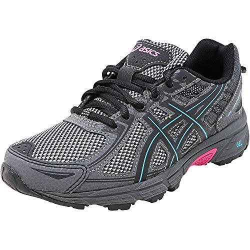 ASICS Women#039s GelVenture 6 Running Shoes 6M Black/Island Blue/Pink Glow