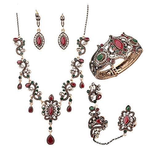 Ohrringe Ohrstecker Ohrhänger4 Stück Türkei Schmuck Sets Vintage Look Rote Halskette Ohrringe Set Farbe Antik Gold Einzigartige Kristall Liebe