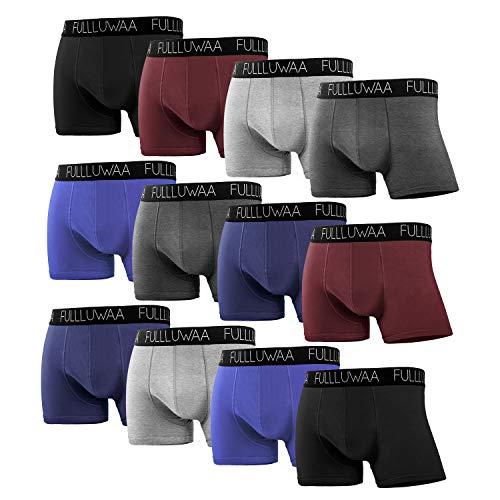 Fullluwaa Boxershorts Men Herren 12er Pack Retroshorts Männer Trunks Baumwolle Unterwäsche Weiche und Ideale Passform(Ohne Kratzenden Zettel),(Mehrfarbig,3XL)