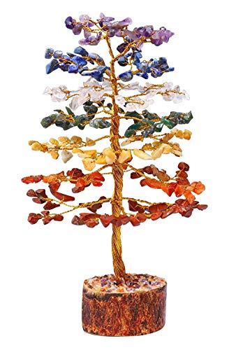 Zaicus Seven Chakra Golden Wire Gemstone Tree Feng Shui Bonsai Money Trees Healing Crystals for Reiki Stone Wealth Health & Prosperity Spiritual Gift Enhance Home Decor Size - 10 Inch