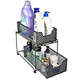 MustQ 2 Tier Organizer Baskets with Mesh Sliding Drawers, Ideal Cabinet, Countertop, Pantry, Under The Sink, and Desktop Organizer for Bathroom,Kitchen, Office.