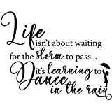 My Vinyl Story Life Isnt About Waiting for The Storm to Pass Its Learning to Dance in The Rain Inspirational Wall Decal Motivational Office Decor Quote Wall Art Vinyl Classroom Decor Kids Room