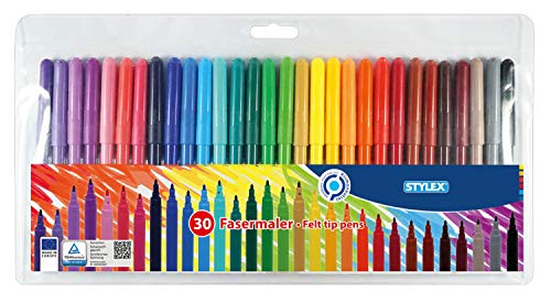 Stylex 64300 - Fasermalstifte, 30 Fasermaler sortiert in 30 verschiedenen Farben, auswaschbar, 2,0 mm Spitze, im Kunststoffetui, ideal zum Malen für Kinder