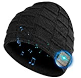 Bluetooth Hat, Rechargeable Unisex Bluetooth Beanie, mens gifts with Control Panel, Removable Wireless