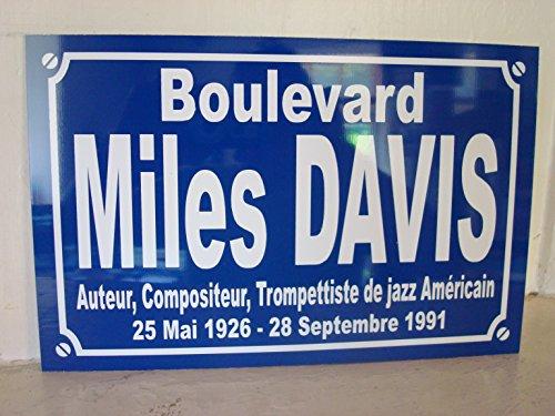 Noir & Mat Sérigraphie Miles Davis Plaque de Rue Objet Collection Cadeau pour Fan déco Originale