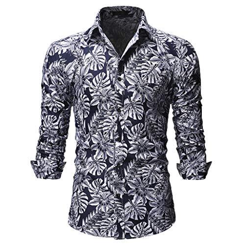 UJUNAOR Camicie Uomo Maglia A Maniche Lunghe,Slim,Fit,Originale Camicia con Bottoni Elegante Stampato Floreale,S/M/L/XL/XXL(Small,Bianca)