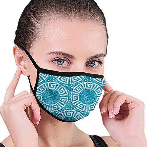 Windproof Activated Carbon Face Mask,Aqua,Greek Meander Mosaic Pattern Classical Geometrical Ornament Architecture,Blue Green White,Facial Decorations for Unisex Adult Senior-273