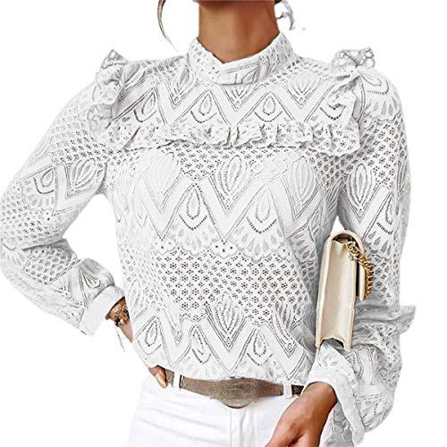 Blusa de mujer de encaje elegante vintage de manga larga cuello alto para primavera/otoño blanco M