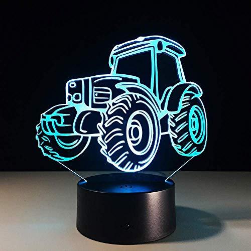 Tractor 3D Led Light Night Creative 3D Ilusión Lámpara Coche Usb Escritorio Lámpara De Mesa Dormitorio Sala De Estar 7 Colores Cambio De Iluminación