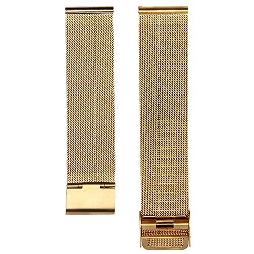 PAZHOU Milanesa Reloj de Reloj 12 mm 14 mm 16 mm 18 mm 20 mm 22 mm 24 mm Universal Acero Inoxidable Metal Reloj de Metal Correa Pulsera Black Rose Gold (Band Color : Gold, Band Width : 22mm)