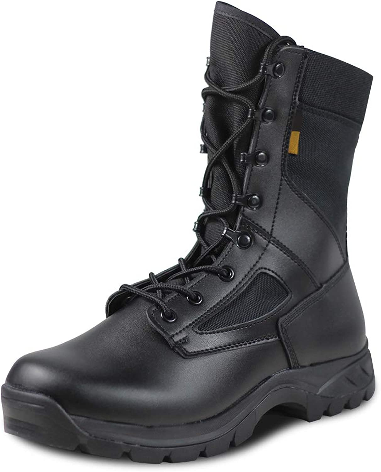 LUDEY Men's 8'' Military Boots Leather Nylon Work & Safety Boots Tactical Boots Outdoor Water Resistant Boots IDS-658