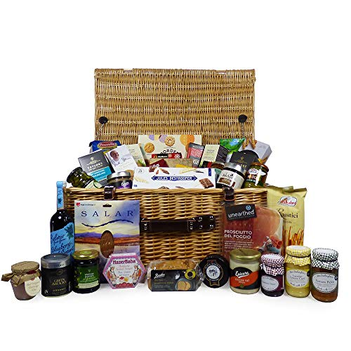 Quality Gourmet Food Hamper Presented in a Large Luxury Wicker Gift Basket - Deluxe Mayfair Collection - Gift Ideas for Mum, Mothers Day, Valentines, Christmas, Birthday, Wedding, Anniversary, Corporate, Business gifts, Dad, Fathers Day, Thank you, Congra