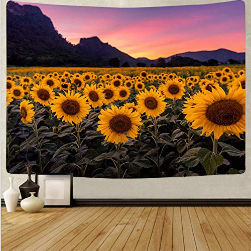 Plant Flowers Tapestry Sunset Sunflower Psychedelic Multifunctional Family Bed Cover Ornament Tablecloth Decoration Colorful Wall Hanging Living Bedroom Carpet Beach Mat_70.9 inch × 90.6 inch
