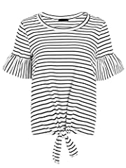 Fashion cute loose tshirt for Women/Junior Teen Girls. Material: 95% Cotton, 5% Spandex, very stretchy fabric, soft against skin. Round neck, short sleeve, knot in front, striped print, ruffle sleeve. Style: stipe tee, striped tshirt, loose top, tuni...