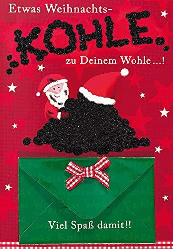 Tarjeta de dinero para Navidad, diseño de Papá Noel con carbón +...